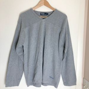 Polo Gray V-Neck Lightweight Sweater Embroidered